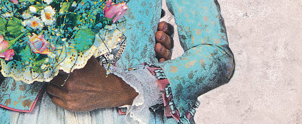 An illustration showing a close-up of a hand around the waist of a woman holding flowers